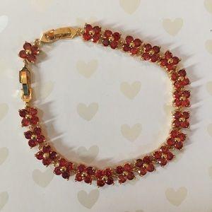 Jewelry - 18k Gold Garnet Tennis Bracelet